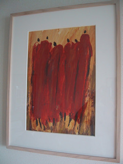 アフリカ・ケニヤのマサイ族が書いた油絵